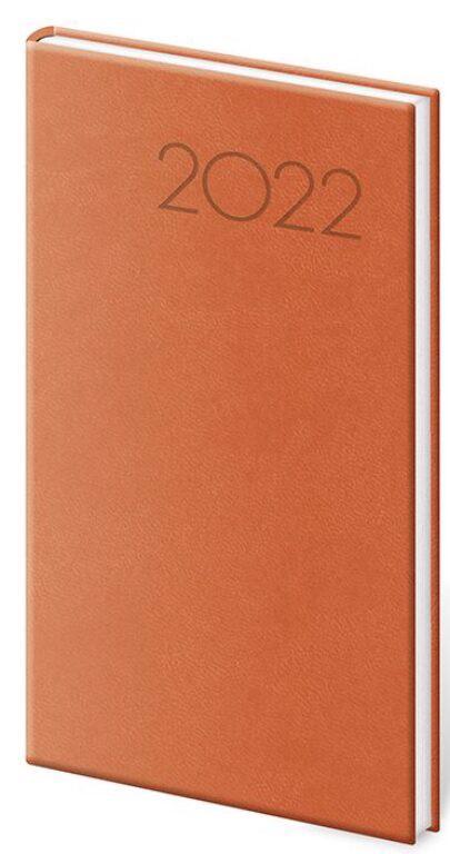 Týdenní kapesní diář Print 2022, 80x150mm - oranžový