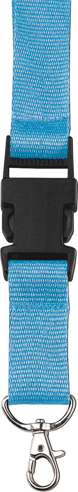 Polyester (300D) lanyard and key holder - Light Blue