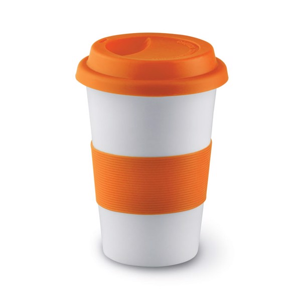 Ceramic mug w/ lid and sleeve Tribeca - Orange