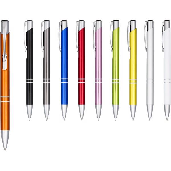 Moneta anodized aluminium click ballpoint pen - White