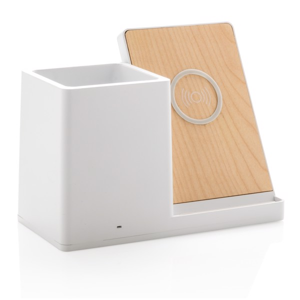 Ontario 5W wireless charger with pen holder - White