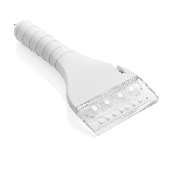 Ice scraper with COB and safety function - White