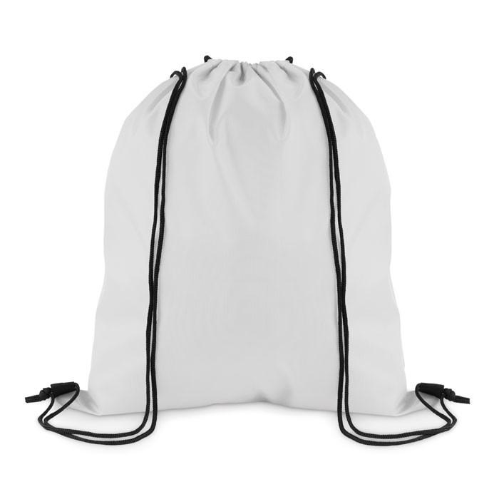 210D Polyester drawstring bag Simple Shoop - White