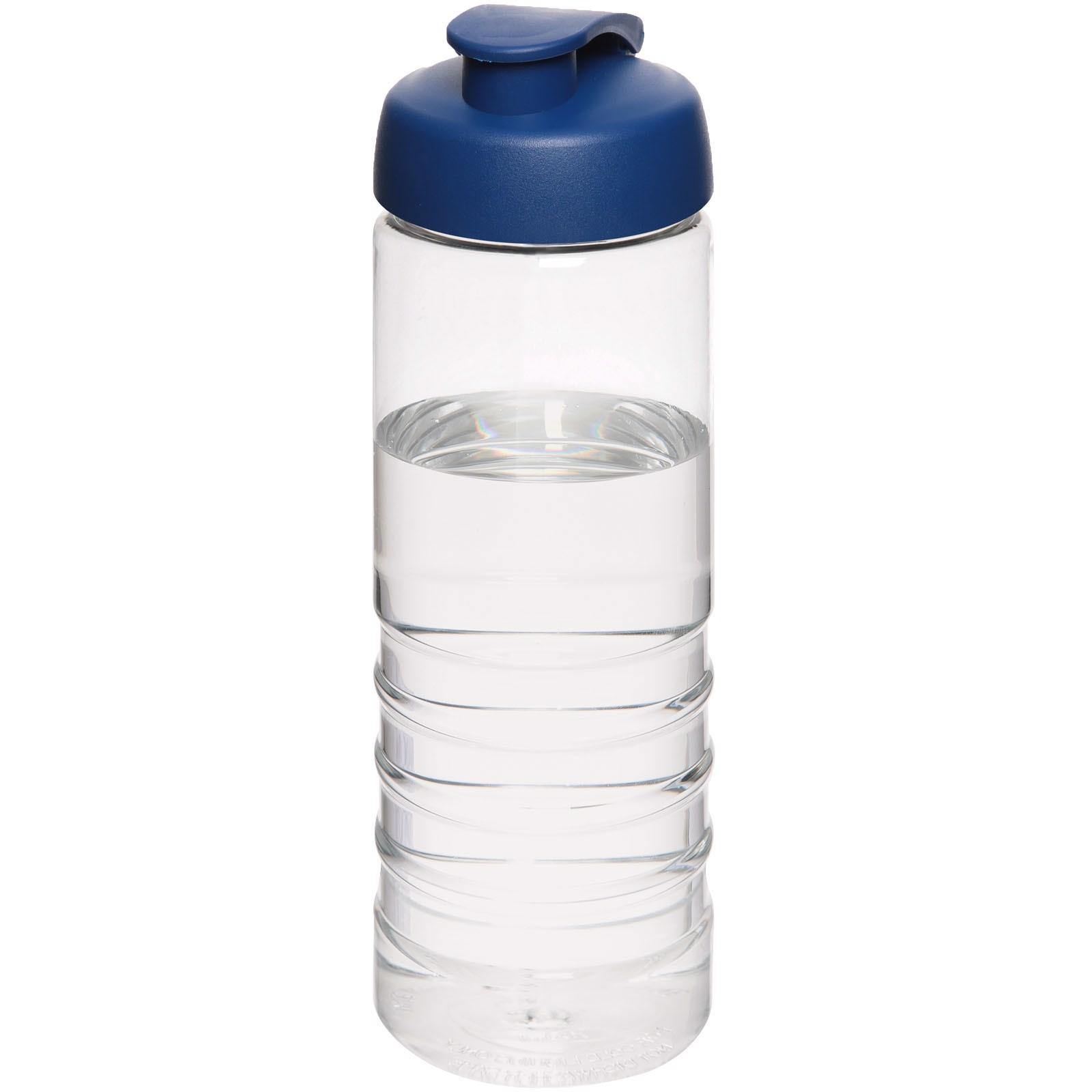 H2O Treble 750 ml sportovní lahev s vyklápěcím víčkem - Průhledná / Modrá