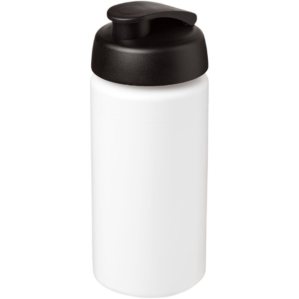 Baseline® Plus grip 500 ml flip lid sport bottle - White / Solid black