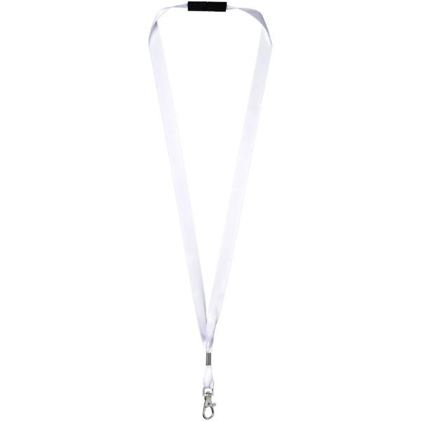 Oro ribbon lanyard with break-away closure - White