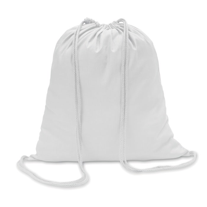 Cotton 100 gsm drawstring bag Colored - White