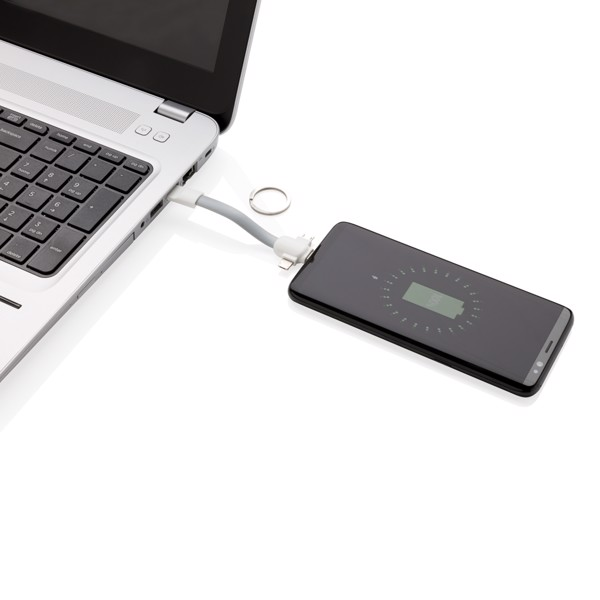 3-in-1 keychain cable - White / Grey