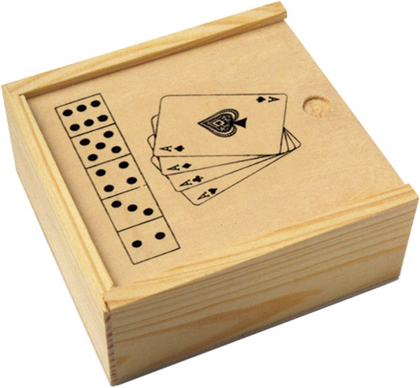 Wooden box with game set