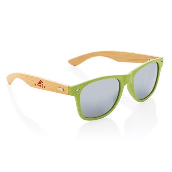Sluneční brýle z bambusu a pšeničné slámy - Zelená