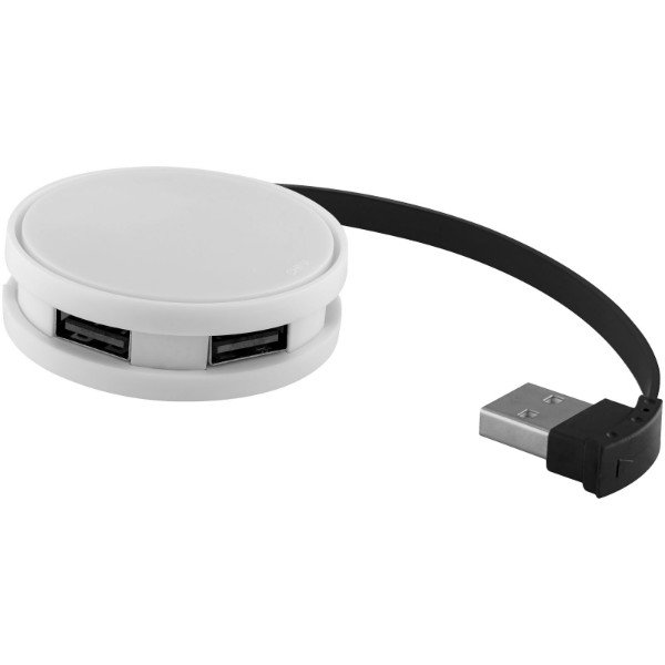 Round 4-port USB hub - White / Solid black