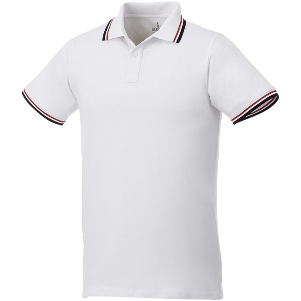 Fairfield short sleeve men's polo with tipping - White / Navy / Red / S