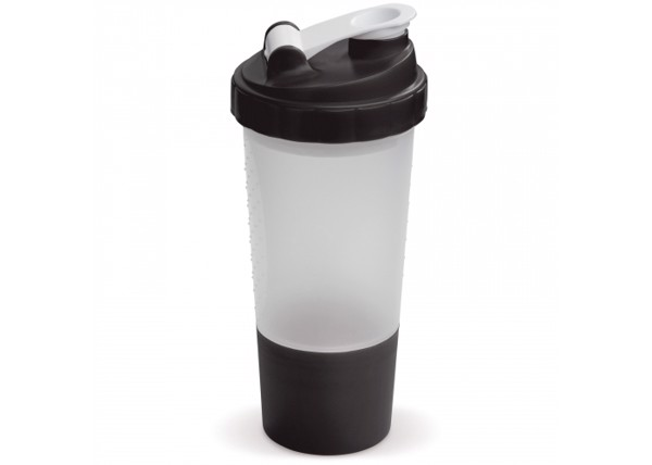 Shaker with compartment 500ml - Transparent Black