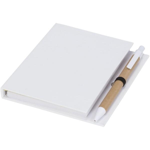 """Bloc con notas adhesivas y bolígrafo """"Colours"""" - Blanco"""