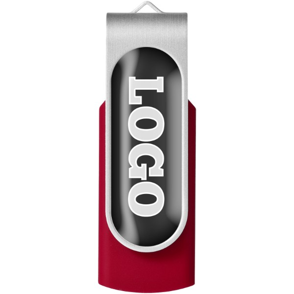 Rotate-doming 4GB USB flash drive - Red / Silver