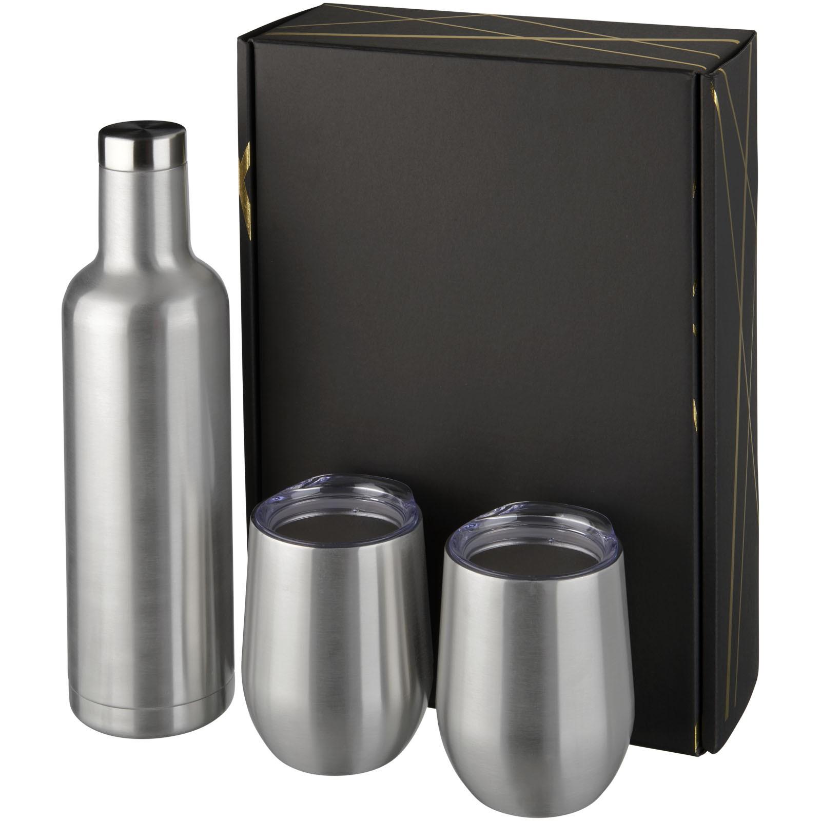 Dárková sada měděných nádob Pinto a Corzo s vakuovou izolací - Stříbrný
