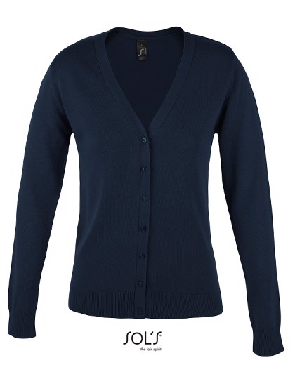 Golden Women V-Neck Knitted Cardigan - Navy / XL