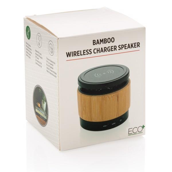 Bambusový bezdrátový reproduktor a nabíječka