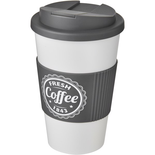 Americano® 350 ml tumbler with grip & spill-proof lid - White / Grey