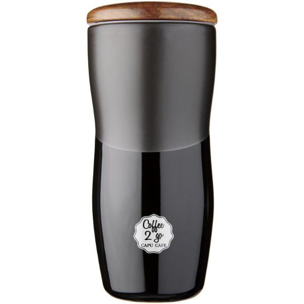 Reno 370 ml double-walled ceramic tumbler - Solid black