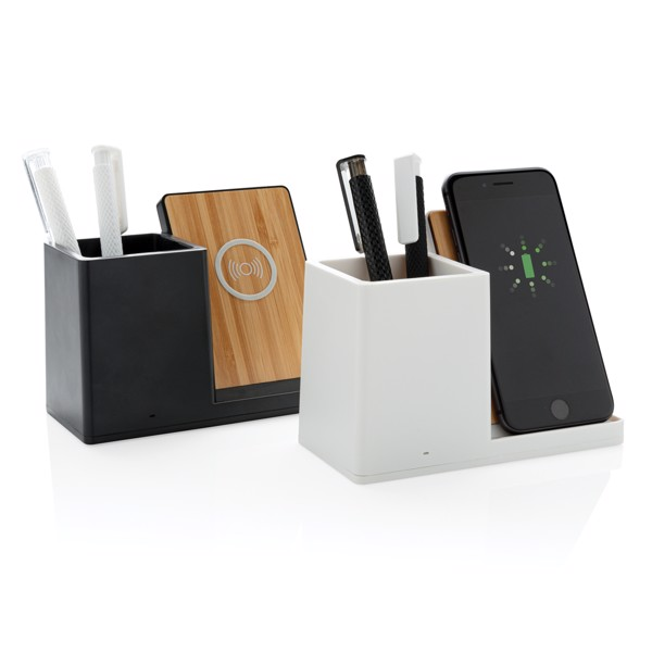 Ontario 5W-os vezeték nélküli töltő asztali tolltartóval - Fekete