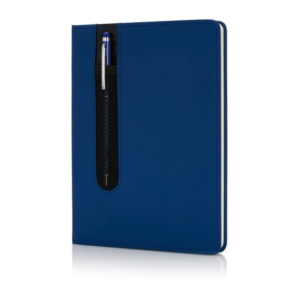 Poznámkový blok A5 Deluxe se stylusovým perem - Námořní Modř