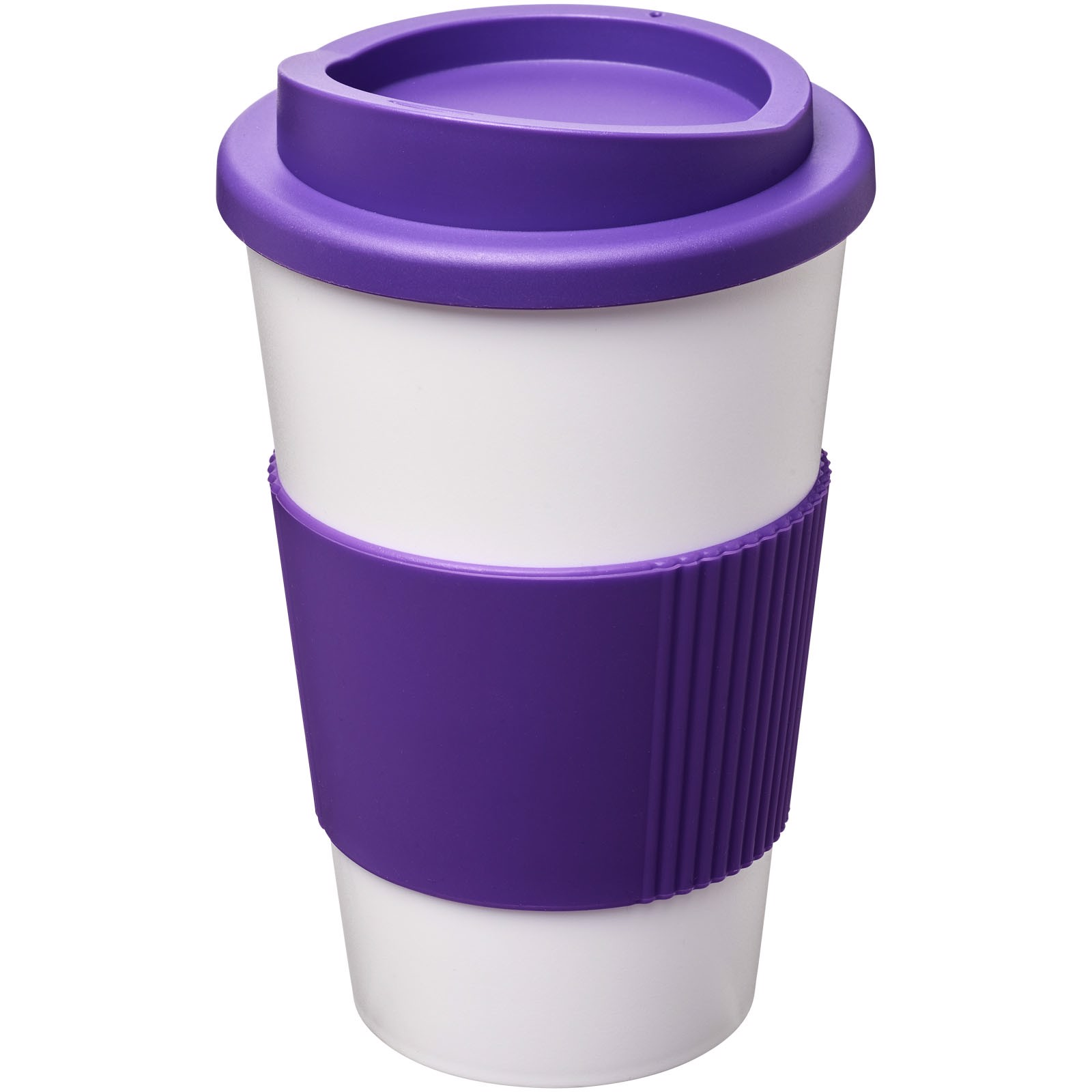Americano® 350 ml insulated tumbler with grip - White / Purple