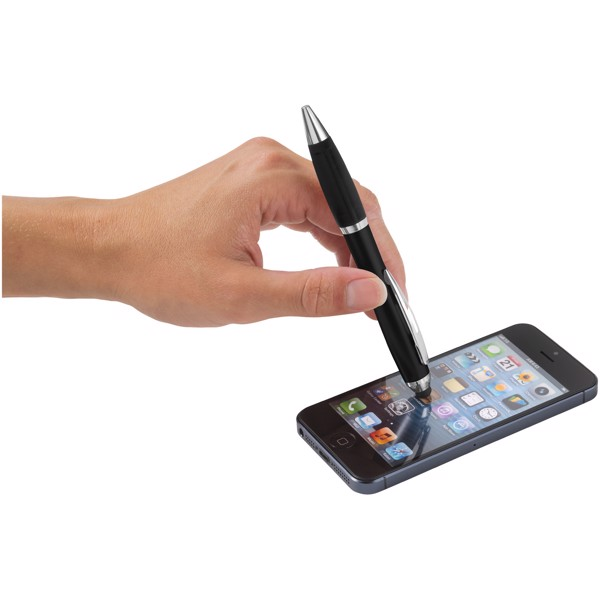 Barevné kuličkové pero a stylus Nash s černým úchopem - Černá