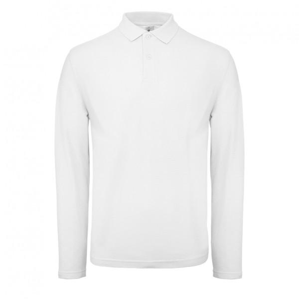 Polo B&C ID001 Men Long Sleeve  - White / XL