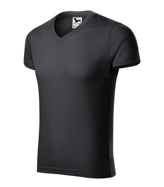 Tričko pánské Malfini Slim Fit V-neck - Ebony Gray / S