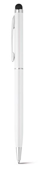 ZOE BK. Hliníkové kuličkové pero s dotykovou špičkou - Bílá