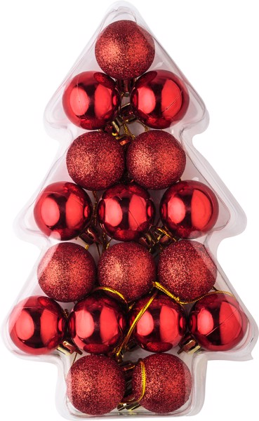 Set of 17 small plastic Christmas balls