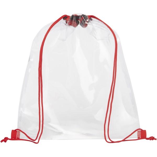 Lancaster transparent drawstring backpack - Red / Transparent clear