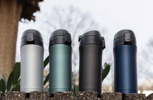 Metallic easy lock vacuum mug - Blue