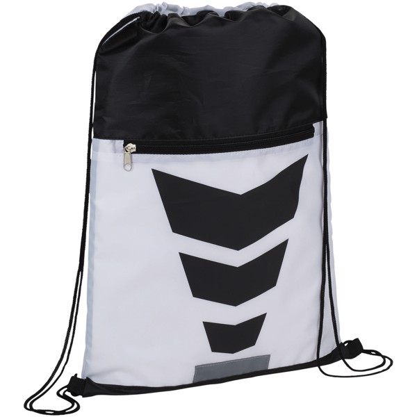 Courtside zippered pocket drawstring backpack - White / Solid black