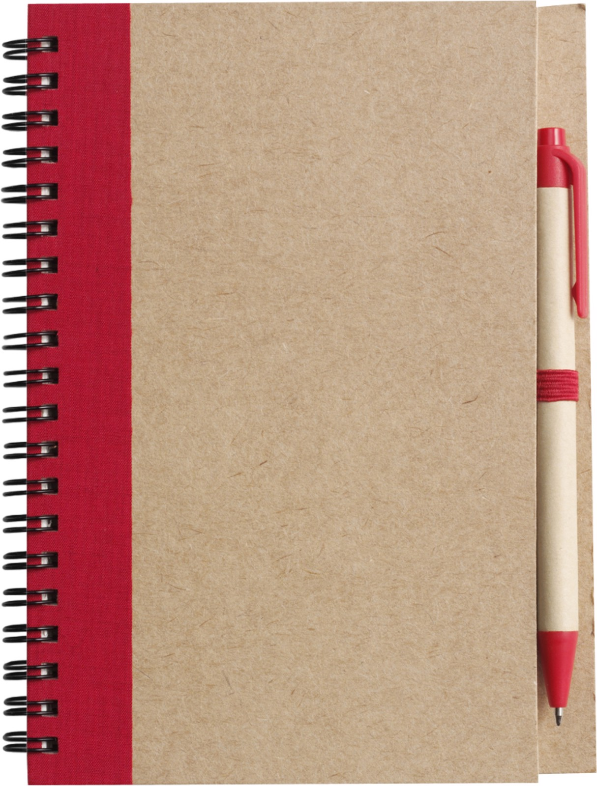 Wire bound notebook with ballpen. - Red