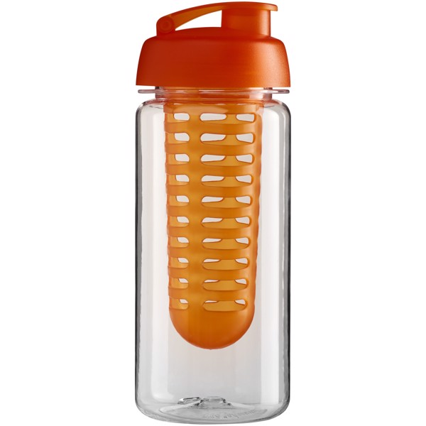 H2O Octave Tritan™ 600 ml flip lid bottle & infuser - Transparent / Orange