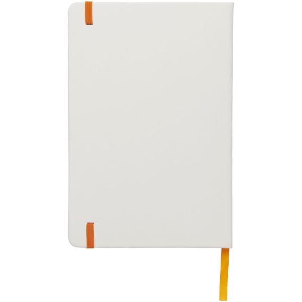 Spectrum weißes A5 Notizbuch mit farbigem Gummiband - Weiss / Orange