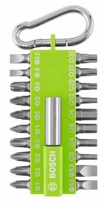 21 częściowy zestaw bitów BOSCH Professional w trwałej kasecie z tworzywa sztucznego. - zielony