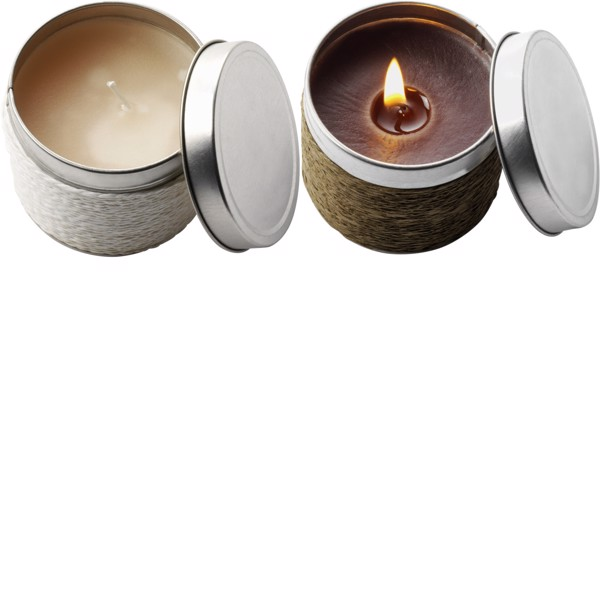 Tin with scented candle - White