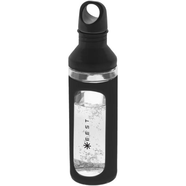 Hover 590 ml glass sport bottle - Solid Black / Transparent