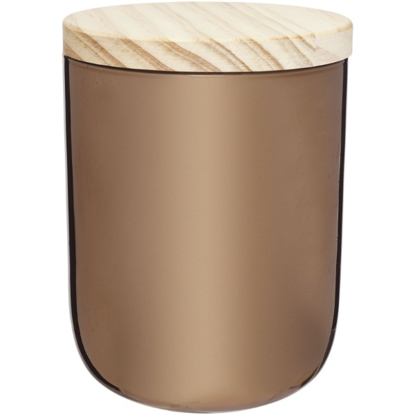 Lani svíčka s dřevěným víčkem - Měděná