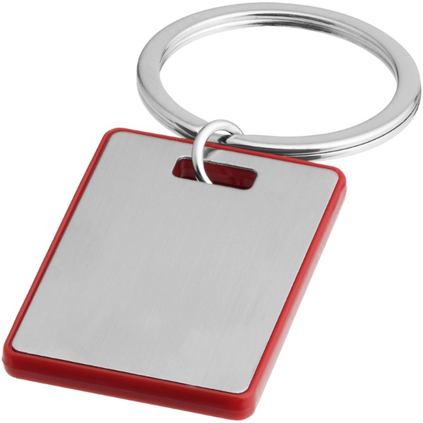 Donato rectangular keychain - Red / Silver