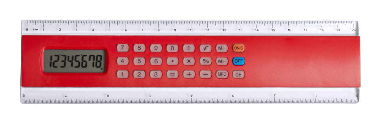 Kalkulačka S Pravítkem Profex - Červená