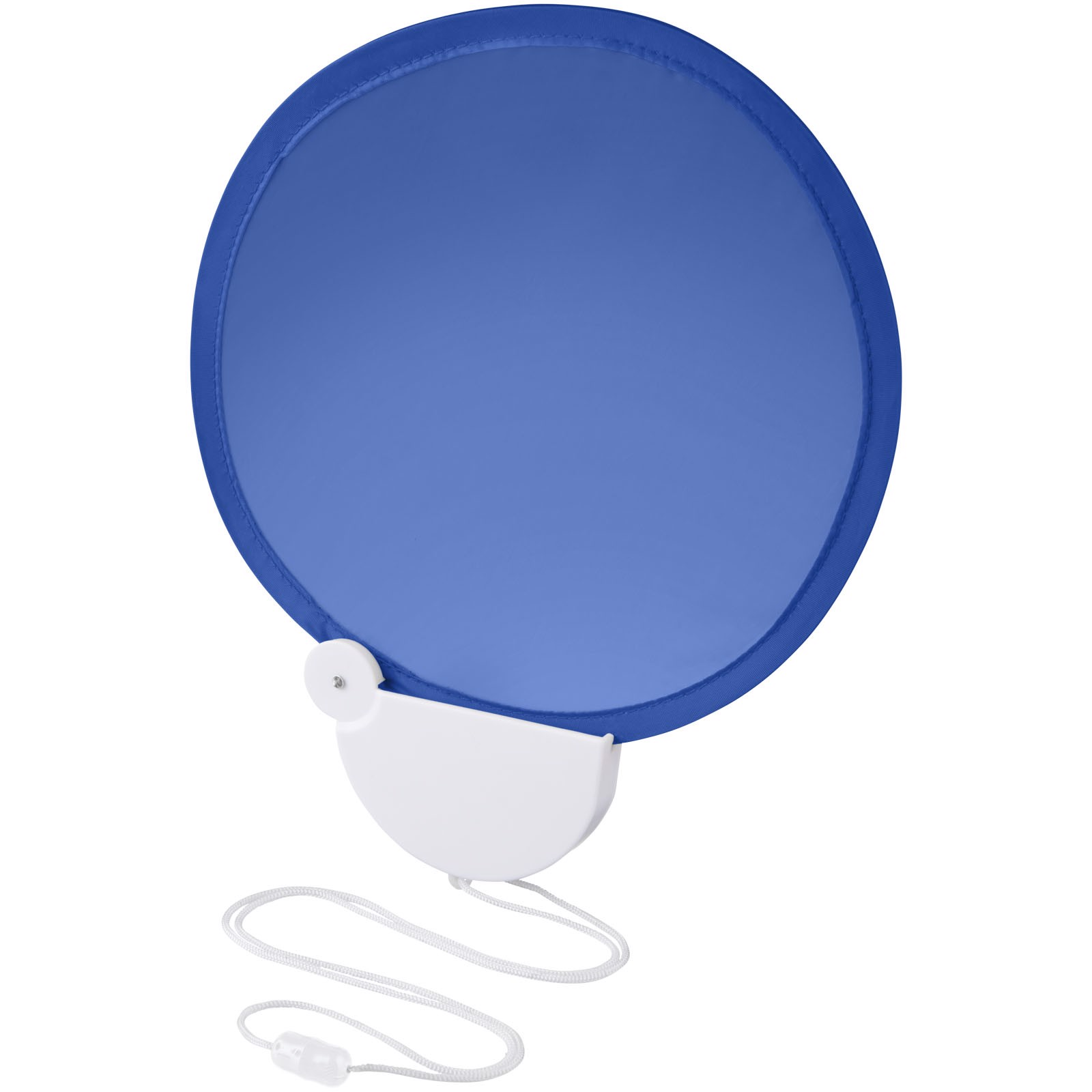 Breeze foldable hand fan with cord - Royal blue / White