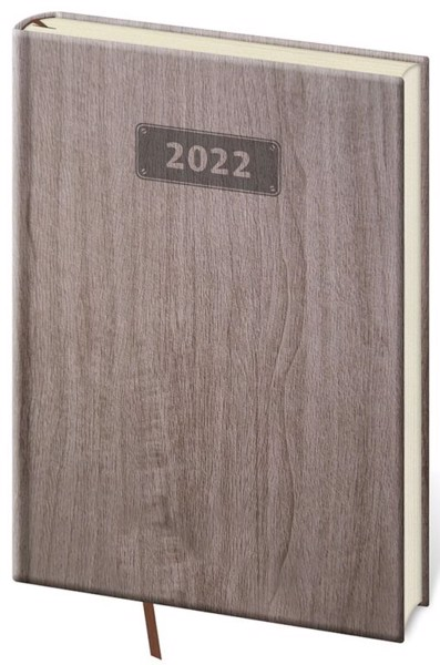 Denní diář A5 Wood světle hnědý 2022