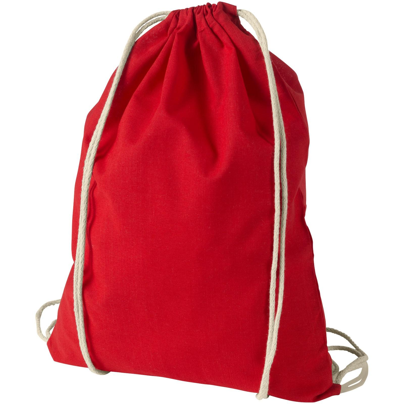 Oregon 100 g/m² cotton drawstring backpack - Red
