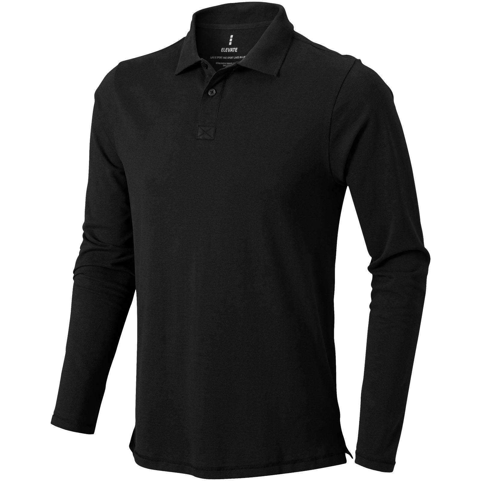 Oakville long sleeve men's polo - Solid black / XXL