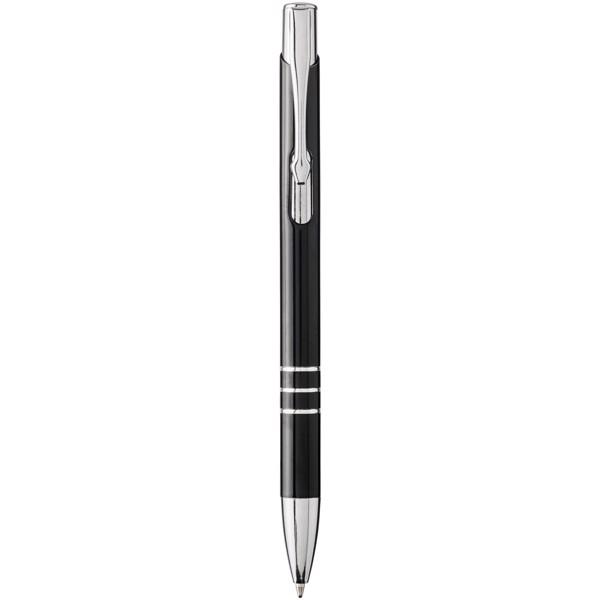 Moneta laserové hliníkové stiskací barevné kuličkové pero - Černá / Stříbrný