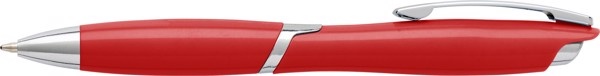 Plastic ballpen with solid colour barrel - Red